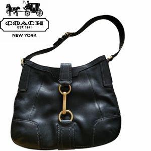 COACH HAMPTON black leather shoulder/hobo bag